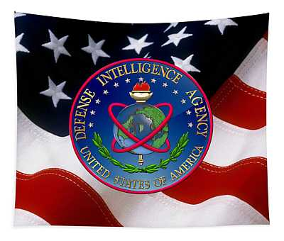 U. S. Defense Intelligence Agency - D I A Emblem Over Flag Tapestry