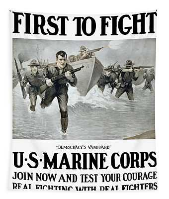 Us Marine Corps - First To Fight  Tapestry