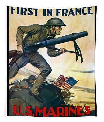 Us Marines - First In France Tapestry