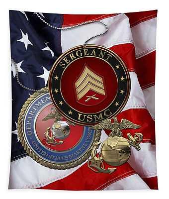 U. S. Marines Sergeant - U S M C Sgt Rank Insignia Over American Flag Tapestry