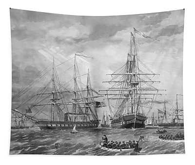 U.s. Naval Fleet During The Civil War Tapestry
