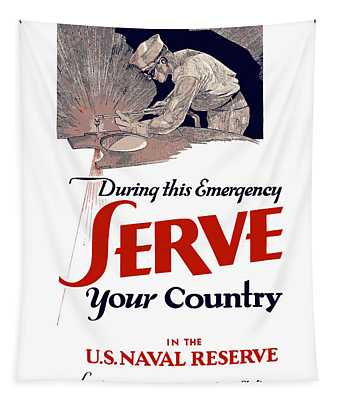 Us Naval Reserve Serve Your Country Tapestry