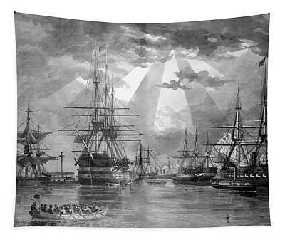 U.s. Naval Ships At The Brooklyn Navy Yard Tapestry