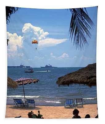Tapestry featuring the photograph Us Navy Off Pattaya by Travel Pics