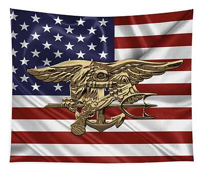 U.s. Navy Seals Trident Over U.s. Flag Tapestry