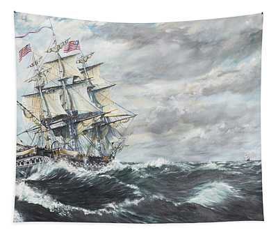Uss Constitution Heads For Hm Frigate Guerriere Tapestry