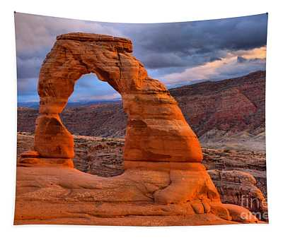 Utah Delicate Arch Sunset Tapestry