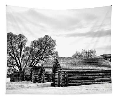 Valley Forge Barracks In Winter  Tapestry