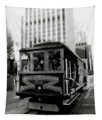 Van Ness And Market Cable Car- By Linda Woods Tapestry
