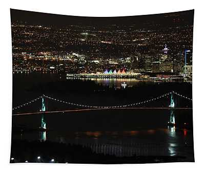Vancouver At Night Tapestry