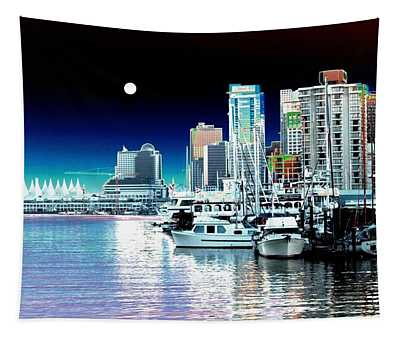 Vancouver Harbor Moonrise  Tapestry
