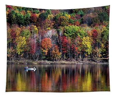 Vanishing Autumn Reflection Landscape Tapestry