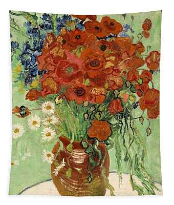 Tapestry featuring the painting Vase With Daisies And Poppies by Van Gogh