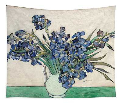 Tapestry featuring the painting Vase With Irises by Van Gogh