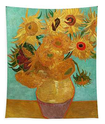 Tapestry featuring the painting Vase With Twelve Sunflowers by Van Gogh