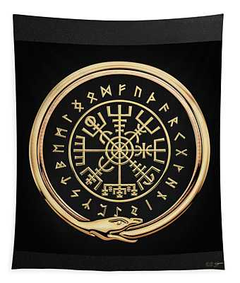 Vegvisir - A Magic Icelandic Viking Runic Compass - Gold On Black Tapestry
