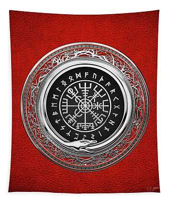 Vegvisir - A Silver Magic Viking Runic Compass On Red Leather  Tapestry