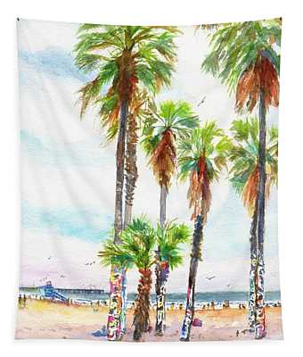 Venice Beach California Graffiti Palm Trees Tapestry