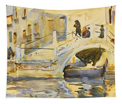Venice. Bridge With Figures  Tapestry