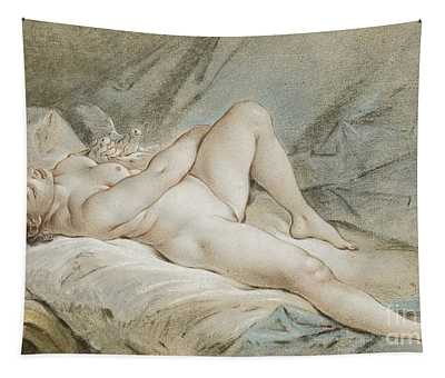 Venus Playing With Two Doves Tapestry