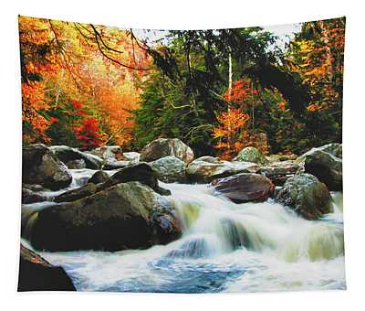 Vermonts Fall Color Rapids Tapestry