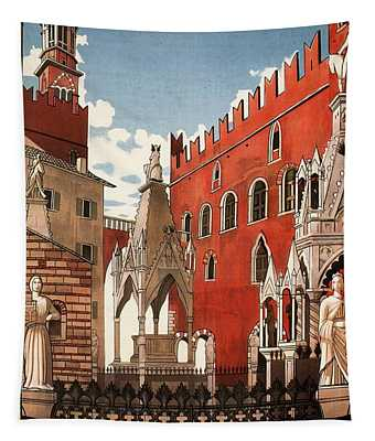 Verona, Italy - Building And Monuments - Retro Travel Poster - Vintage Poster Tapestry