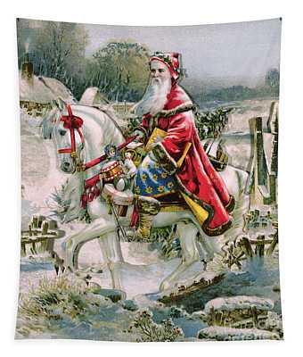 Victorian Christmas Card Depicting Saint Nicholas Tapestry