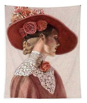 Victorian Lady In A Rose Hat Tapestry