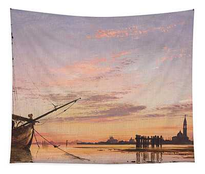 View Across The Lagoon, Venice, Sunset Tapestry