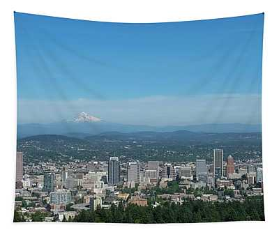 View Of Downtown Portland Oregon From Pittock Mansion Tapestry