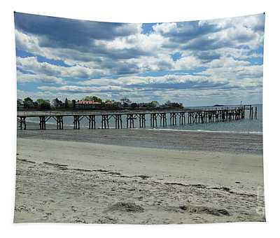 View Of Pier. Fisherman's Beach, Swampscott, Ma Tapestry