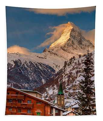 Village Of Zermatt With Matterhorn Tapestry
