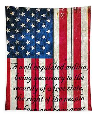 Vintage American Flag And 2nd Amendment On Old Wood Planks Tapestry