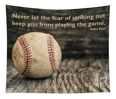 Vintage Baseball Babe Ruth Quote Tapestry