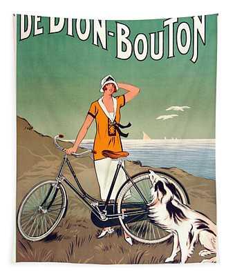 Vintage Bicycle Advertising Tapestry