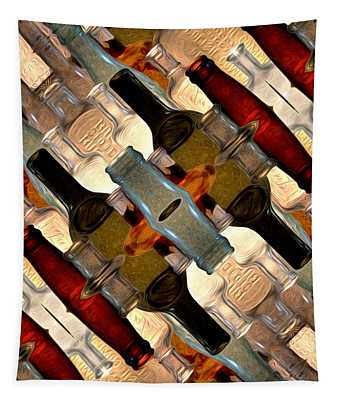 Vintage Bottles Abstract Tapestry