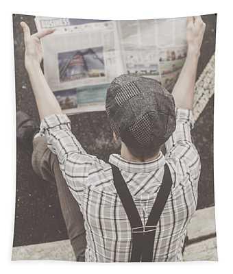 Vintage Businessman Reading Business News Tapestry