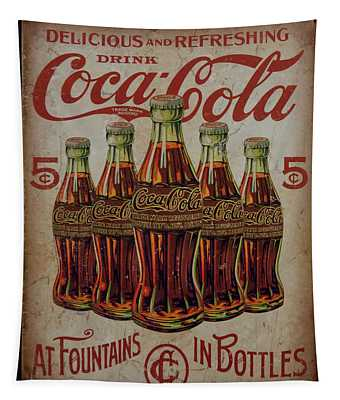 vintage Coca Cola sign Tapestry