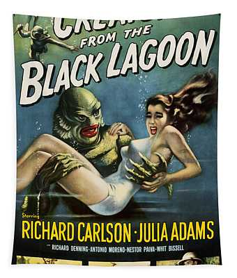 Tapestry featuring the digital art Vintage Creature From The Black Lagoon Poster by Joy McKenzie