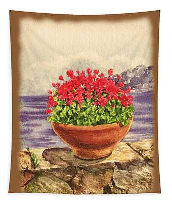 Vintage Flowers In The Pot Tapestry