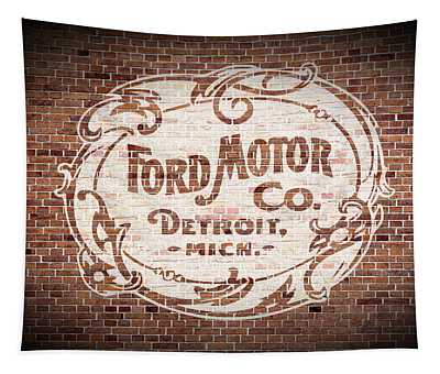 Vintage Ford Logo Painted On Old Brick Wall In Detroit Michigan Tapestry