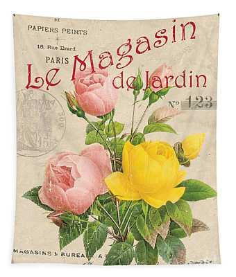 Vintage French Flower Shop 3 Tapestry