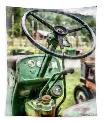 Vintage Green Tractor Steering Wheel Tapestry