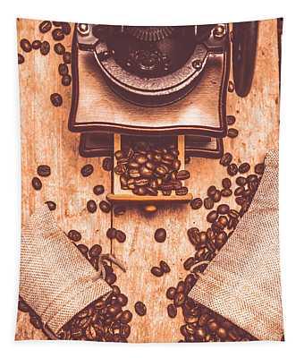 Vintage Grinder With Sacks Of Coffee Beans Tapestry