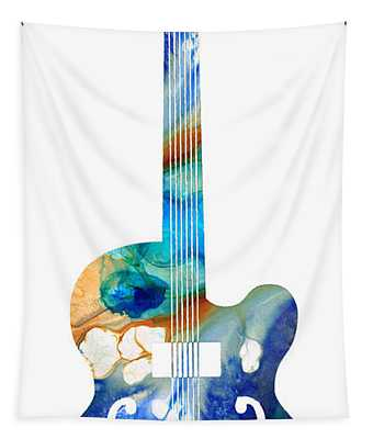 Vintage Guitar - Colorful Abstract Musical Instrument Tapestry