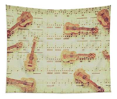 Vintage Guitar Music Tapestry