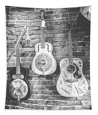 Vintage Guitar Trio In Black And White Tapestry