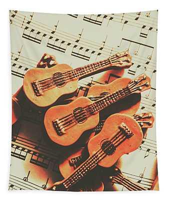 Vintage Guitars On Music Sheet Tapestry