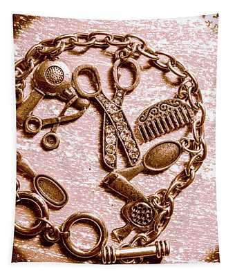 Vintage Hairdressing Charm Tapestry