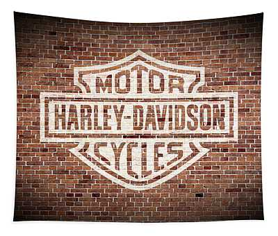 Vintage Harley Davidson Logo Painted On Old Brick Wall Tapestry